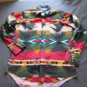 Vtg Wrangler Western Aztec Navajo Button Shirt L